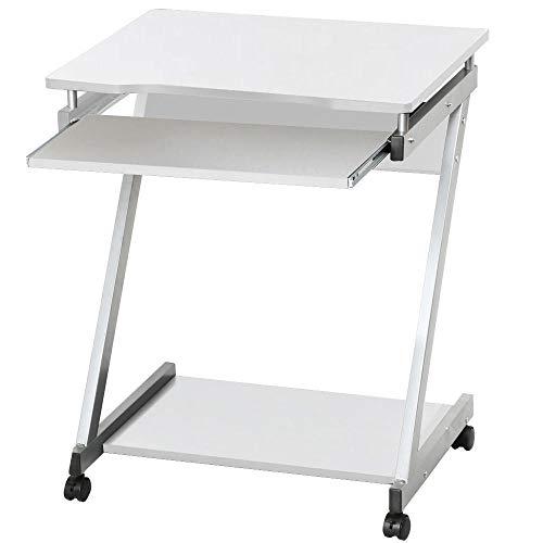 ch Z-Form PC Tisch Computerwagen mit 4 Rollen 2 Davon mit Bremsen platzsparender Arbeitstisch mit Tastaturauszug 60 x 48 x 74 cm Weiß ()