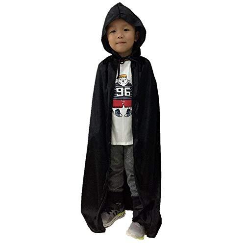 Kapuze Lange SAMT Cape Vampir Kostüm Halloween Kinder Unisex, Kostbares Cosplay-Kleid Umhang Alter für 3-7 Jahre (Schwarz) ()