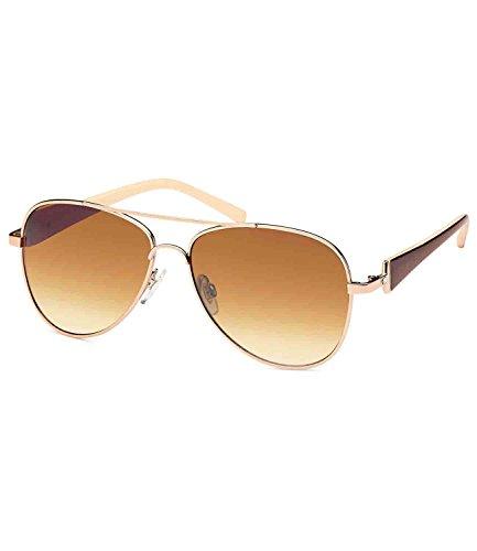 caripe Damen Pilotenbrille Sonnenbrille getönt Strassstein - P405 (gold - Bügel braun)