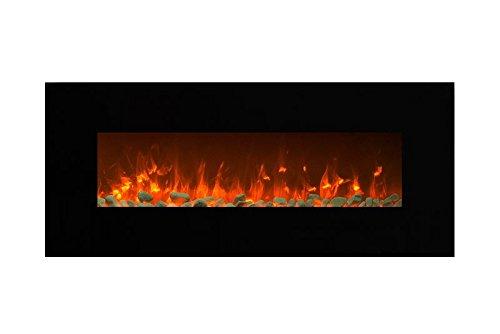 Elektrokamin Glow Fire Mars, 130 cm breit, Wandkamin elektrisch (1500 Watt Heizlüfter, Farbige LED-Beleuchtung; Glasscheibe, Dimmer, Fernbedienung) schwarz (Flammen mit Kieseldekoration)