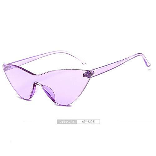 LGMR Sonnenbrille Rund,Transparente Sonnenbrille Personalisierte Cat Eye Sonnenbrille Jelly Round Frame Sonnenbrille,transparentpurple