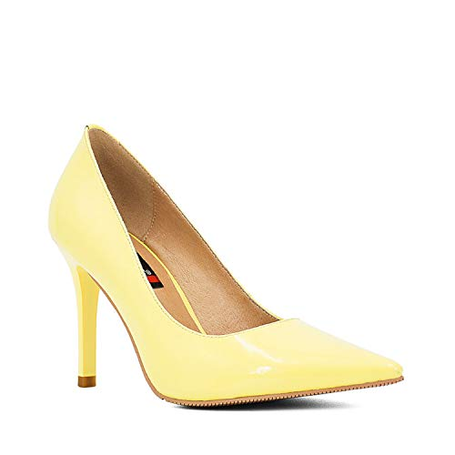 Woman Elegant Pumps Sheepskin High Thin Heels Sexy Pointed Toe Pumps Basic Model Party Wedding Career Lady Shoes D30 Yellow patent Leathe 6