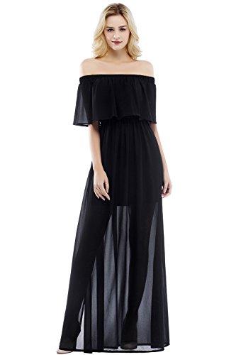 Damen Elegant Chiffon A-Linie Brautkleid Hochzeitskleid Rückenfrei maxilang Schwarz 42