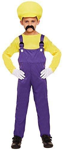 Jungen Kinder Mario oder Luigi Klempner 1980s Buch Tag Halloween Kostüm Kleid Outfit 4-12 jahre - Gelb, 10-12 Years