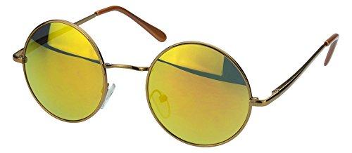 Sense42 | Retro Sonnenbrille | runde Gläser für Damen und Herren | verspiegelte Sonnenbrille | mit Federscharnier-Bügel | schwarz, blau, gold, grün, orange, silber
