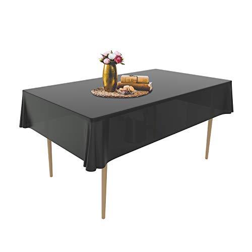 Puricon [6 Stücke] Einweg Tischdecke aus Kunststoff 1,37 x 2,74 M, Premium Rechteckige Tischabdeckung Gartentischdecke für Gastronomie, Feste, Party, Hochzeiten oder Haushalt -Schwarz