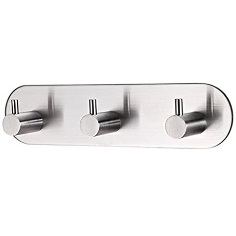 KES A7065H3 Bathroom Lavatory Self Adhesive Coat and Robe Hook Rack/Rail with 3 Hooks SUS304 Stainless Steel, Brushed Finish