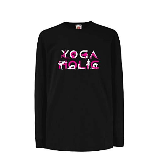lepni.me Kinder-T-Shirt mit Langen Ärmeln Yoga Holic, Positive Vibrationen, motivierende Workout-Zitate, Yogi-Liebhaber-Geschenk (14-15 Years Schwarz Mehrfarben)
