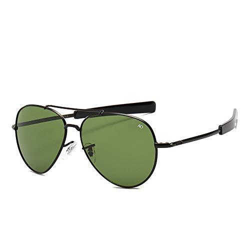 HUWAIYUNDONG Sonnenbrillen,Vintage Aviation Sunglasses Men American Army Military Optical Ao Sun Glasses Women Black Green