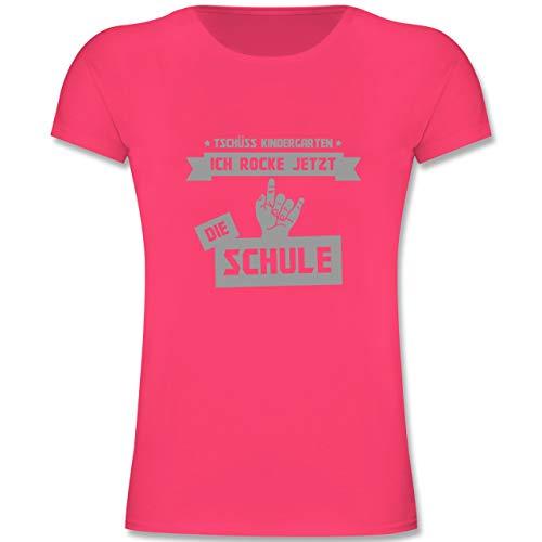 Einschulung und Schulanfang - Tschüss Kindergarten ich Rocke jetzt die Schule - 128 (7-8 Jahre) - Fuchsia - F131K - Mädchen Kinder T-Shirt -