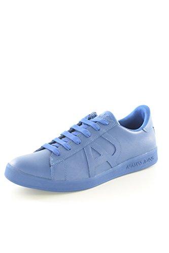 Scarpe Uomo Sneakers Basse AJ Armani Jeans 06565YO05 Blu Blue Pelle Logo  Nuove dbf9999deb5