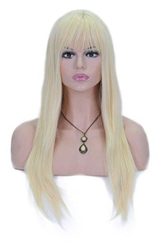 en für Frauen 55,9 cm 613 # blonde und Gold Perücke Haar Full Head Cosplay Party Perücken mit Pony für Halloween + kostenlose Perückenkappe und Kamm sxl1415 (blond) (Blonde Perücke Mit Pony Halloween)