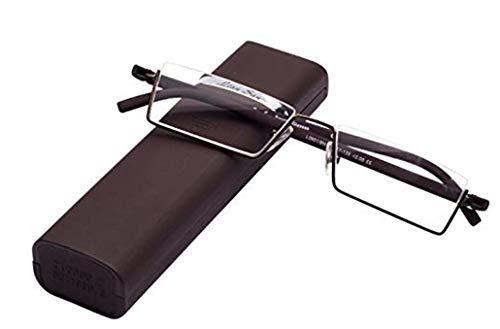 Lesebrille mit Ultraleichtem TR90 Rahmen Lesehilfe Halbbrille aus Metallrahmen mit Halbrahmen Sehehilfe mit Brillenetui für Damen und Herren Fashion Designer Lesebrille