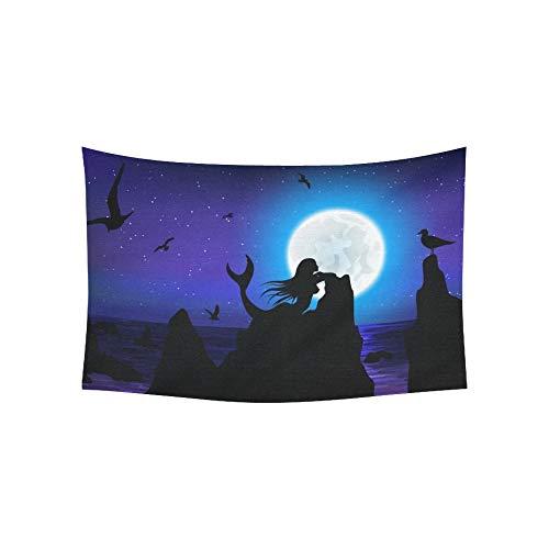 JOCHUAN Tapisserie Fantasy Seascape Moon Meerjungfrau Möwe Wandteppiche Wandbehang Blume psychedelischen Wandteppich Wandbehang indischen Wohnheim Dekor für Wohnzimmer Schlafzimmer 60 X 40 Zoll