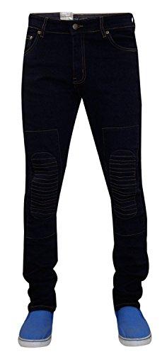 Männer G72 Zip Fliegen Stretch Skinny Slim Fit Biker Denim Jeans Baumwolle Ripped Pants 01-Indigo