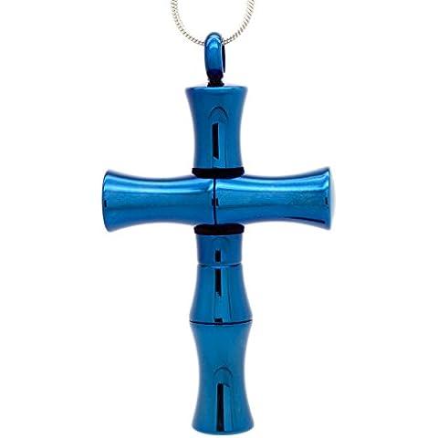 Blu con croce in acciaio INOX, camera segreta e cucchiaio & Suay confezione (Bamboo Croce Pendente)