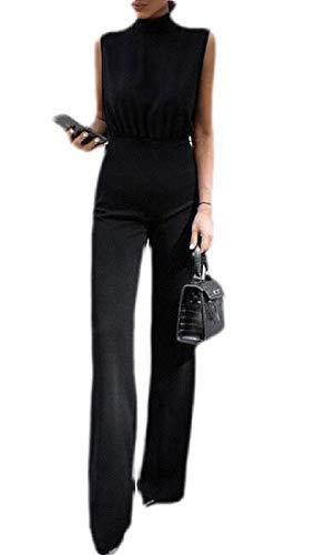 BingSai Damen Elegant ärmellos Mock Neck Tie Taille Weit-Bein Lange Jumpsuits Strampler Gr. M, 1 -