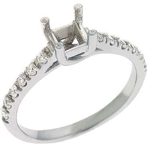 14kt oro bianco rotondo 0,23ct Diamante Semi-mount