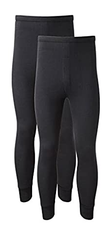 Heatwave® Pack Of 2 Men's Thermal Trousers Long Johns Warm Underwear Baselayer Thermals, XX Large Black