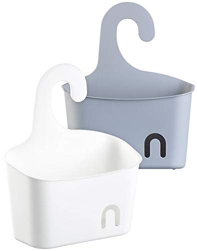 BadeStern Utensilie: 2er-Set Duschkörbe mit Aufhänge-Haken und Ablaufgitter, grau und weiß (Seifenkorb)