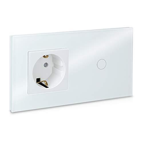 Navaris Interruttore touch e presa Schuko F - Pannello in vetro - Interruttore touchscreen da parete con indicatore LED - Touch Switch 240V - bianco