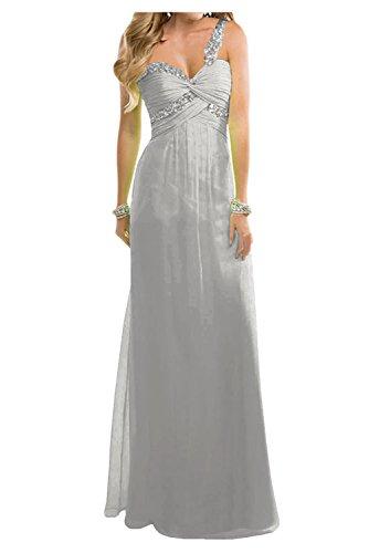 Toscana sposa amabile Empire Chiffon sera lungo Party vestimento lunga sposa giovane ball abiti da sera mode Argento