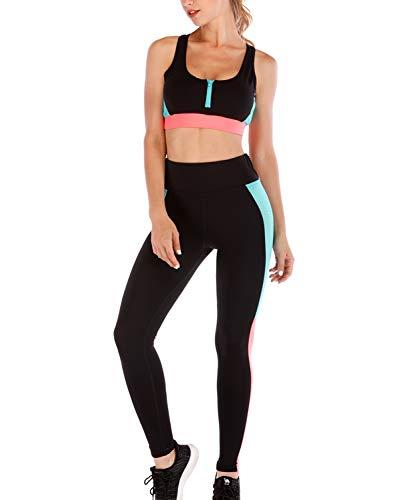 LaLaAreal Mallas Leggins Deportivo Top Sujetador Relleno Mujer Conjuntos para  Fitness Running Yoga 0cd751300fd4
