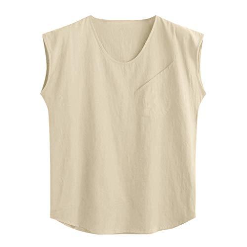 Men's Tops Baggy Cotton Linen Solid Pocket Sleeveless Casual O-Neck T Shirt Vest Tank Blouses for Beach Yoga