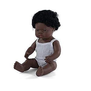 Miniland - Muñeco bebé Africano Niño de vinilo suave de 38cm con rasgos étnicos y sexuado para el aprendizaje de la diversidad con suave y agradable perfume. Presentado en caja de regalo.