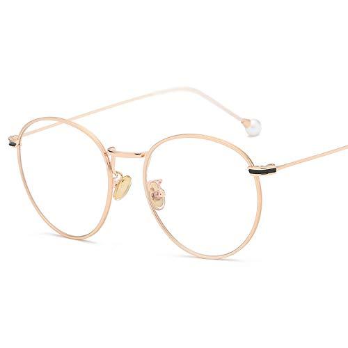 YMTP Leichte Brillen Frames Vintage Runde Myopie Brillenfassungen Für Männer Und Frauen Metall Silber Gold Brillengestell, Gold