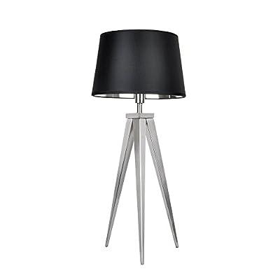 MiniSun - Modern Satin Nickel Metal Tripod Base And Tapered Shade Table Lamp by MiniSun