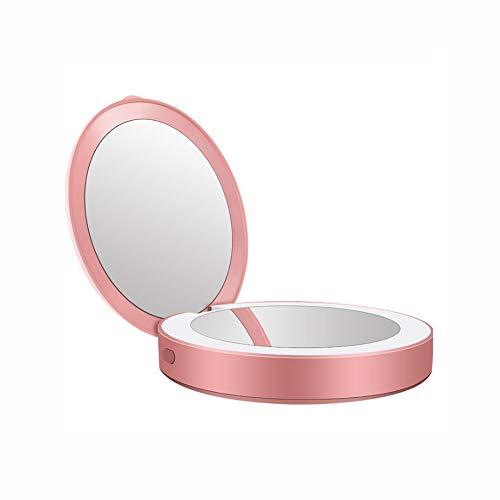 XIONGDA Multifunktions-LED beleuchteter Reiseschminkspiegel 2 in 1 kompaktes tragbares 1X / 3X Vergrößerungs-Tageslicht-Fülllicht Wiederaufladbar Perfekt für Taschen und Handtaschen,Pink - Schätze Eitelkeit Bank