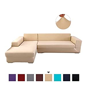 PETCUTE Sofabezüge Stretch Sofaschutz elastisch L-Form Sofa bezug ecksofa Sofabezug Sofaüberwürfe für L-Form Sofa Beige…