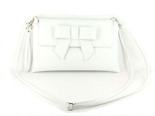 LONI Damen Clutch Abend Hochzeit Tasche mit Schleife in Kunstleder in Elfenbein Weiß