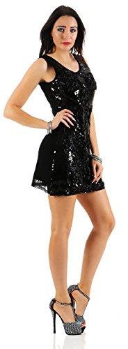 Damen Minikleid Kleid Dress mit Pailetten und Blumenmuster Paillettenkleid Abendkleid Gr. S M 36 38, 1592 Schwarz