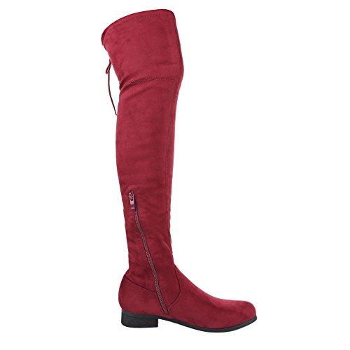 Ital-Design , Bottes classiques femme rouge bordeaux