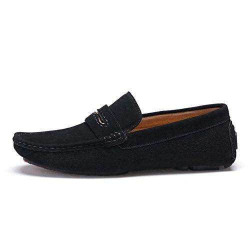 Baymate Homme Moccassins Plats Slip-on Loisirs Loafers Chaussures de Conduite Noir