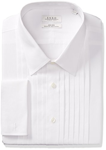 Enro Herren Tuxedo-Shirt Classic Fit Big Tall Solid French Cuff - Weiß - 44 cm Hals 91 cm- 94 cm Ärmel - Tall Classic Fit Shirt