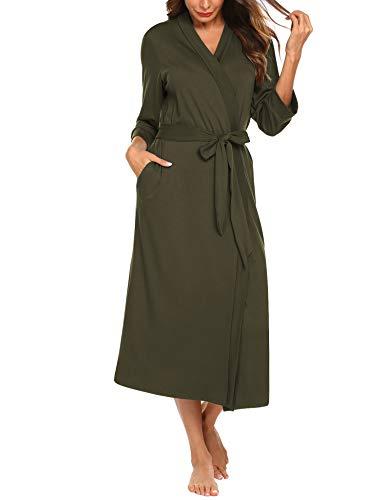Unibelle Damen Morgenmantel Dünn aus Baumwolle Bademantel Kimono Saunamantel mit Tiefer V-Ausschnitt Nachthemd Baumwolle Tiefes Dunkelgrau L