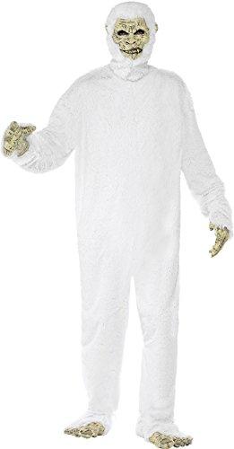 Smiffys, Herren Yeti Kostüm, Latex Maske, Hände, Füße und Bodysuit, Größe: M, 23678
