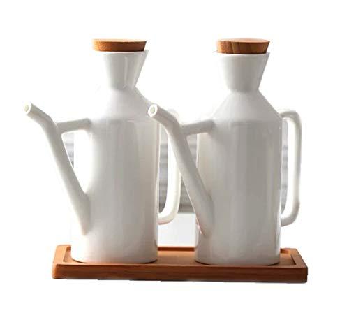 MAI&BAO Öl Flasche Keramik Öl Essig Spender Ölflasche küche Ölbehälter Auslaufsicher Ausgießer Staubdicht, Sauce Cruet 450ML weiß 2 Stück (Sauce Cruet)