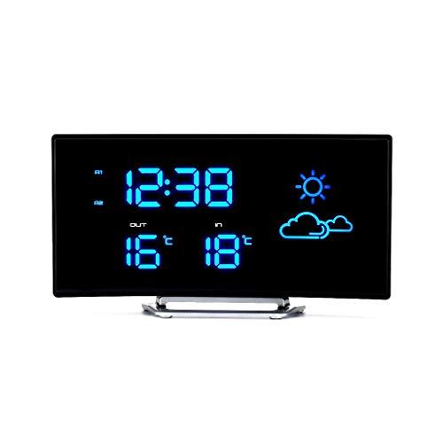 Xinxinchaoshi LED-Lichtbogenform, Wettervorhersage Uhr Funkwetterstation Innen- und Außentemperaturanzeige Alarmaufforderung Funktion Externe Stromversorgung