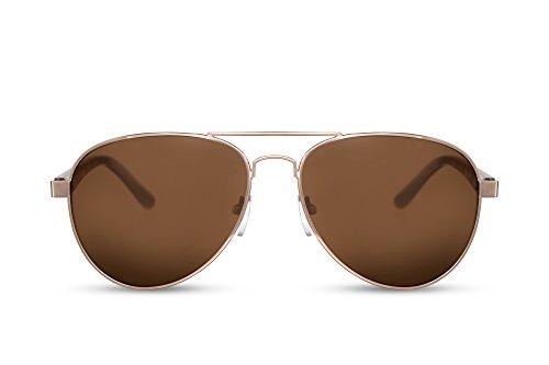Cheapass Sonnenbrille Gold Piloten-Brille Braun-e Gläser UV-400 Polizei Cops Metall Damen Herren