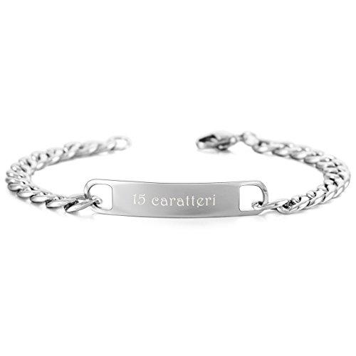 Memediy tono argento acciaio inossidabile bracciali bracciale braccialetto catena curb collegamento - personalizzato incisione