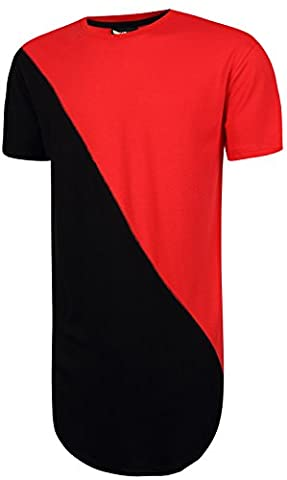 Pizoff Hip Hop Homme T-shirt ultra long avec ourlet Y1293-Red--M