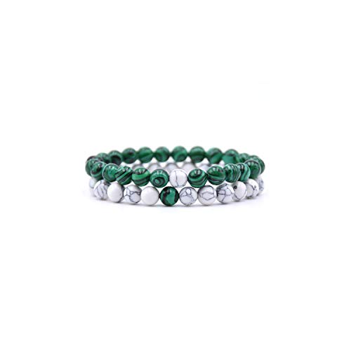Edelstein Perlen Armband 2Pcs/Set 8Mm Couples Distance Yoga Bracelet &Bangles Lava Natural Stone Black White Beaded Bracelets Men Women Prayer Jewelry M