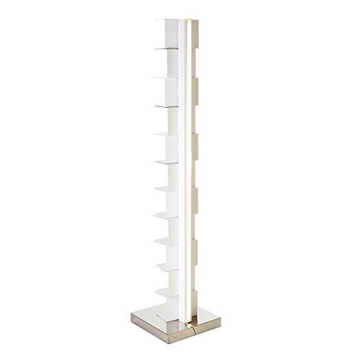 Opinion Ciatti Ptolomeo Luce 160 LED Büchersäule, weiß edelstahl matt 35x35x160cm mit LED-Beleuchtung