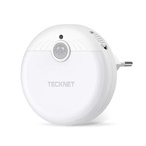 TECKNET Luz Nocturna LED Luz LED para escalones con Sensor de Movimiento y Sensor de luz Integrado, Enchufe Europeo, Luz Blanco y Suave, Se Fija a Cualquier Sitio