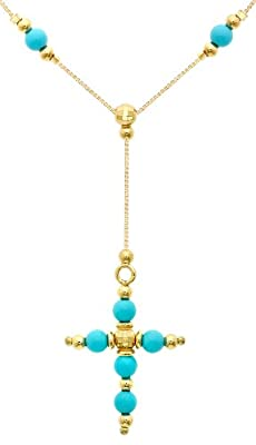 Carissima Gold 9 ct Yellow Gold Turquoise Bead Cross Box Curb Chain Necklace of 46 cm/18 inch
