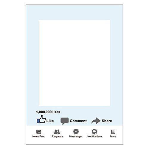 Weddecor Matrimoni Giorno Cabina per Fototessere Personalizzato Selfie Cornice Regalini per Feste per Il Matrimonio, Anniversario, Festeggiamenti, Decorazione Feste 48 x 68cm - Facebook, 48x68cm
